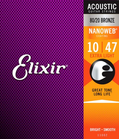 Elixir Acoustic 80/20 Bronze with NANOWEB Coating 10/47