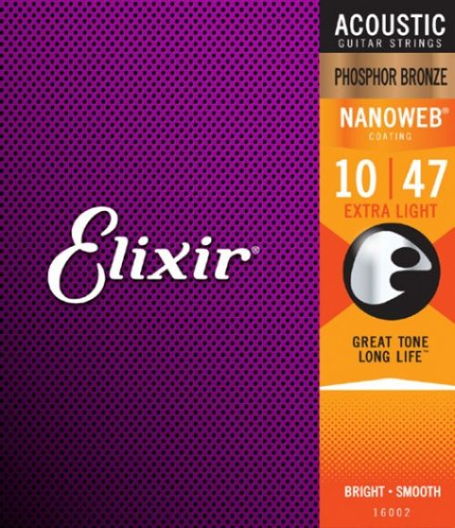 Elixir Acoustic Phosphor Bronze Strings with NANOWEB Coating 10/47