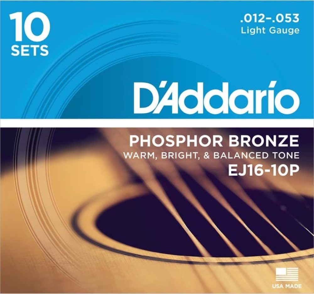 D'addario EJ16-10p Acoustic Guitar Set Phosphor Bronze 12/53 10-Pack