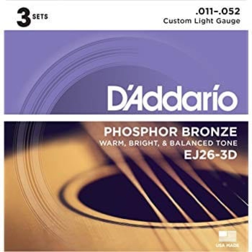 D'addario EJ26 Coated PB Acoustic Guitar Strings, Custom Light, 11-53, 3-Pack