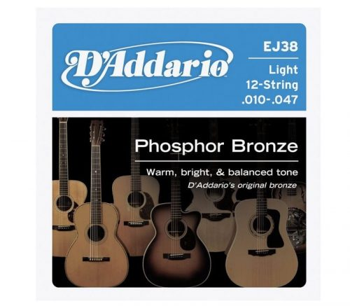 D'addario Acoustic Guitar 12 String Set 10/47 Phosphor Bronze