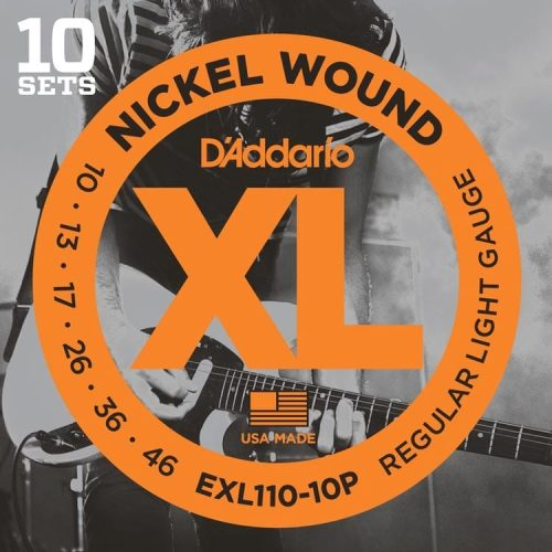 D'Addario EXL110-10P NW Electric Guitar Strings, Regular Light, 10-46, 10 Sets