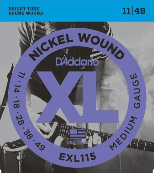 D'Addario EXL115 NW Electric Guitar Strings, Medium/Blues-Jazz Rock, 11-49