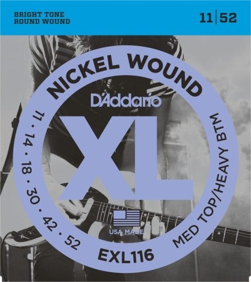 D'Addario EXL116 NW Electric Guitar Strings, Medium Top/Heavy Bottom, 11-52