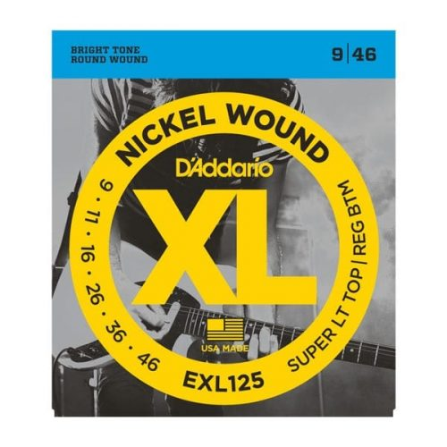 D'Addario EXL125 NW Electric Guitar Strings, Super Light Top/ Regular Bottom, 9-46