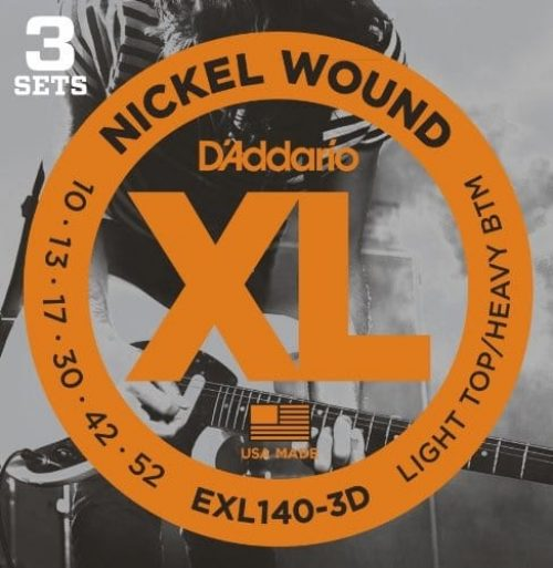 D'Addario EXL140-3D NW Electric Guitar Strings, Light Top/Heavy Bottom, 10-52, 3 sets